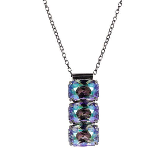 3 Stone Necklace Petrol 01