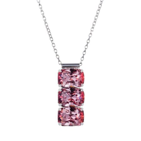 3 Stone Necklace Rose Pink 01