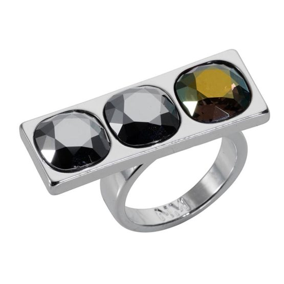 3 Stone Oblong Ring - Silver Chrome - 001