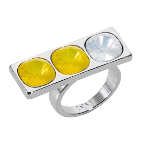 3 Stone Oblong Ring - Silver Yellow - 001