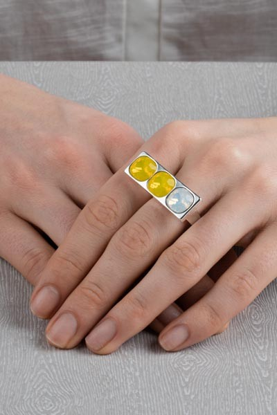 3 stone oblong ring silver yellow lookbook