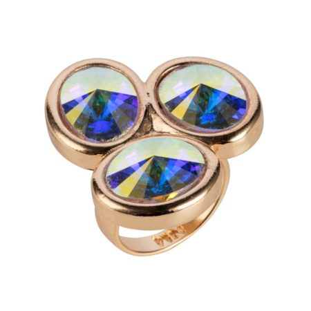 Triple Stone Oval Ring - Gold & Crystal AB
