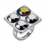 4 Stone Square Ring - Silver Chrome - 001