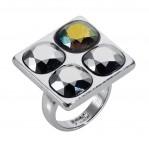 4 Stone Square Ring - Silver Chrome - 001