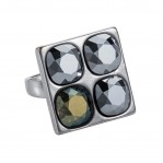 4 Stone Square Ring - Silver Chrome - 002