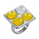 4 Stone Square Ring - Silver Yellow - 001