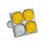 4 Stone Square Ring - Silver Yellow - 002