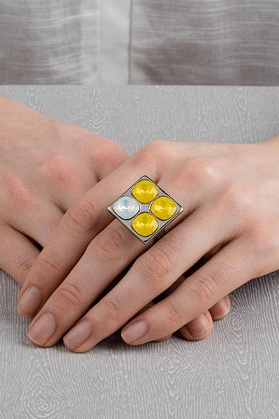 4 Stone Square Ring - Silver Yellow Lookbook