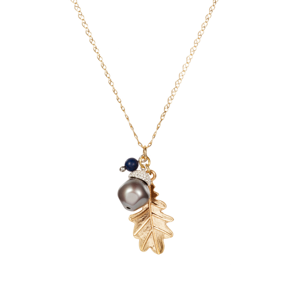 Acorn Charm Necklace - Baroque Pearl & Lapis - 001
