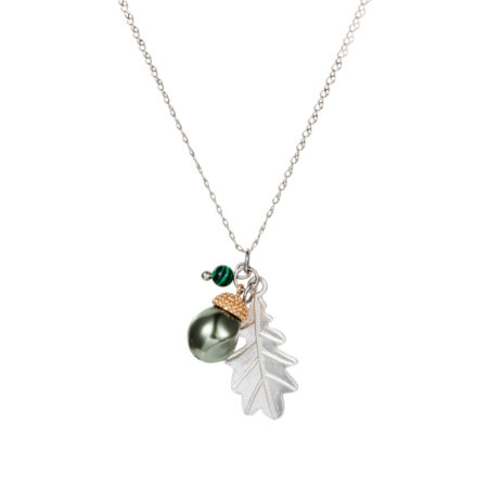 Acorn Charm Necklace - Baroque Pearl & Malachite - 001