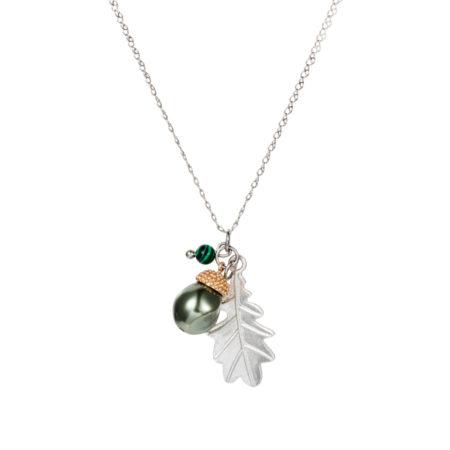 Acorn Charm Necklace - Baroque Pearl & Malachite - 001