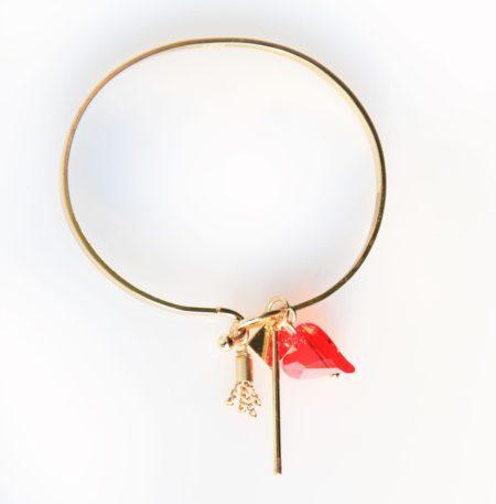 Cluster Bracelet - Red & Gold 002