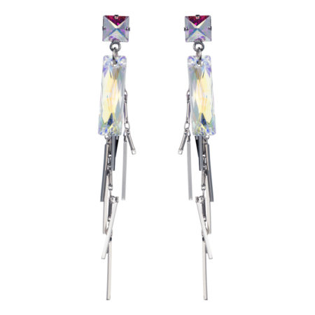 Crystal Baguette Cluster Earrings - Silver - 01