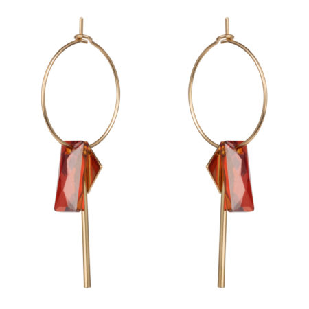 Crystal Baguette Hoop Earrings - Magma - 01