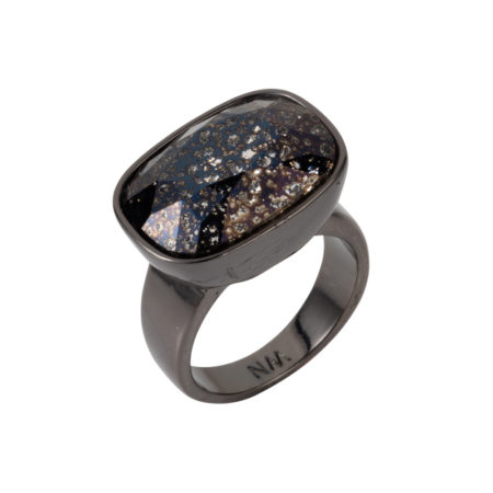 Crystal Oblong Horizontal Ring - Black Patina