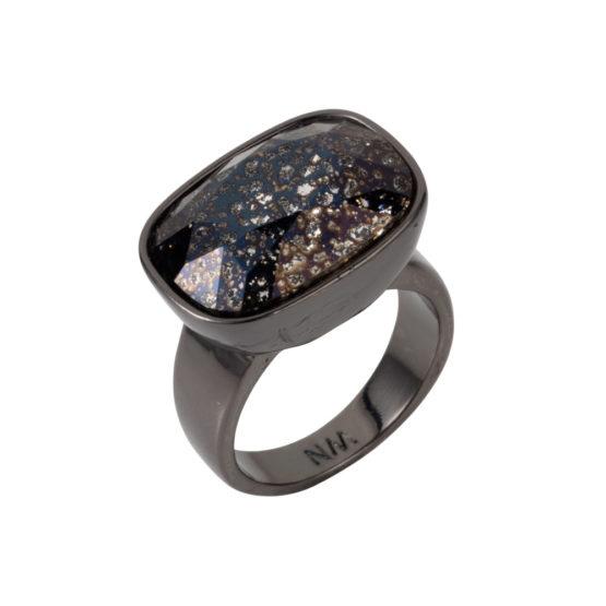 Crystal Oblong Horizontal Ring - Black Patina - 01