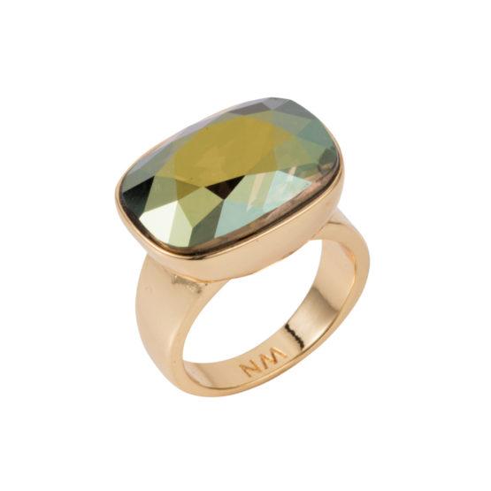 Crystal Oblong Horizontal Ring - Iridescent Green - 01