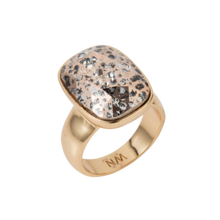 Crystal Oblong Vertical Ring - Gold Patina - 01