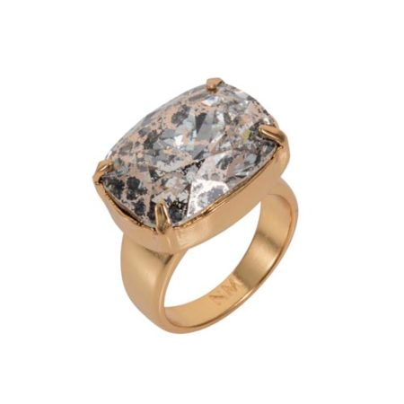 Crystal Patina H Ring 18ct Gold