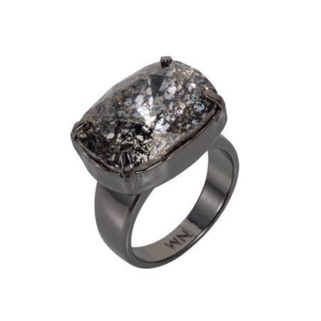 Crystal Patina H Ring Gunmetal A