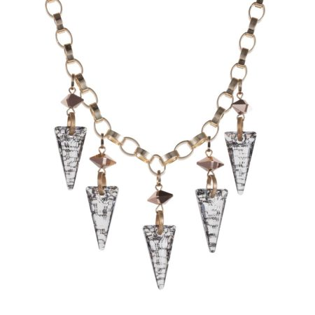 Crystal Shard Statement Necklace Gold A