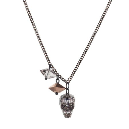 Crystal Skull & Double Spike Necklace Black Patina A