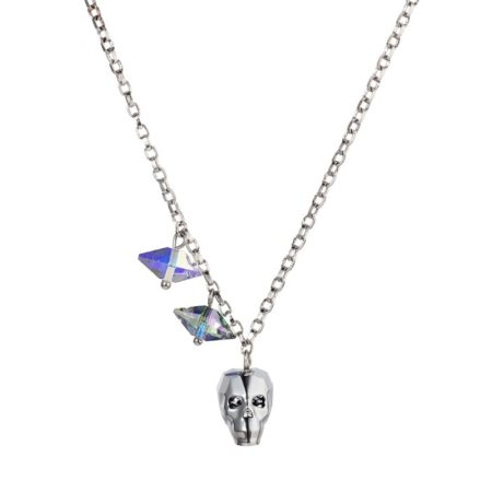 Crystal Skull & Double Spike Necklace - Chrome - 001