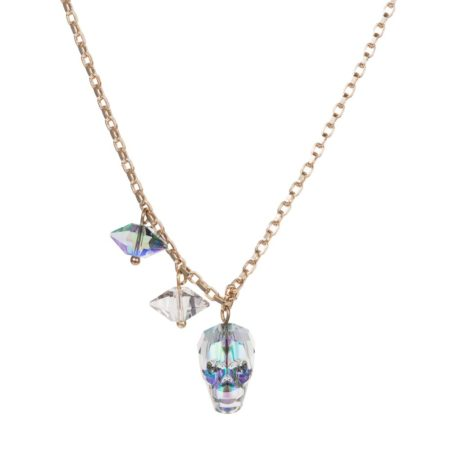 Crystal Skull & Double Spike Necklace Crystal Paradise A