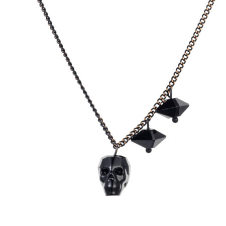 Crystal Skull & Double Spike Necklace - Jet - 01