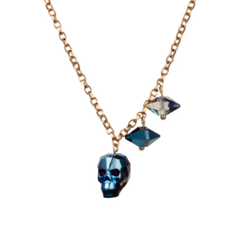 Crystal Skull & Double Spike Necklace - Metallic Blue - 01