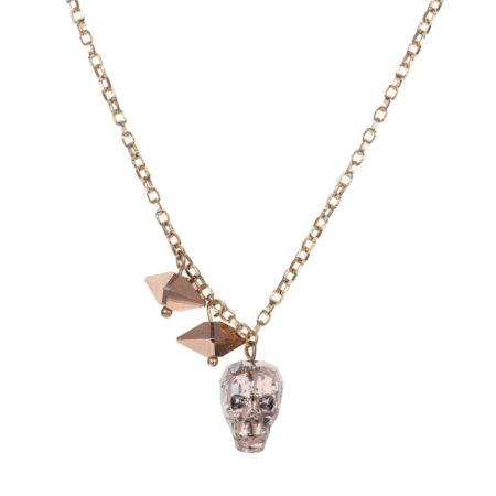 Crystal Skull & Double Spike Necklace Rose Gold A