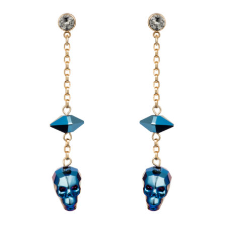 Crystal Skull & Spike Earrings - Metallic Blue - 01