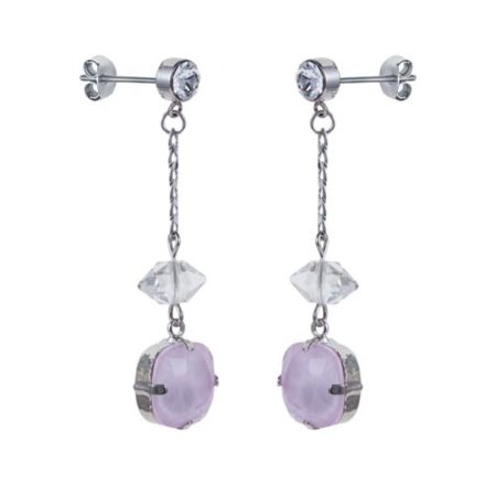 Cushion Stone & Shard Drop Earrings Soft Pink A