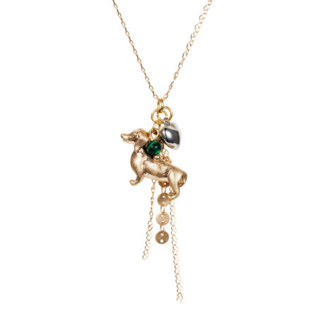 Daschund Charm Necklace - Malachite - 001