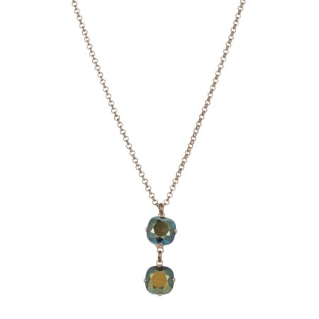 Double Drop Necklace Gold & Iridescent Green