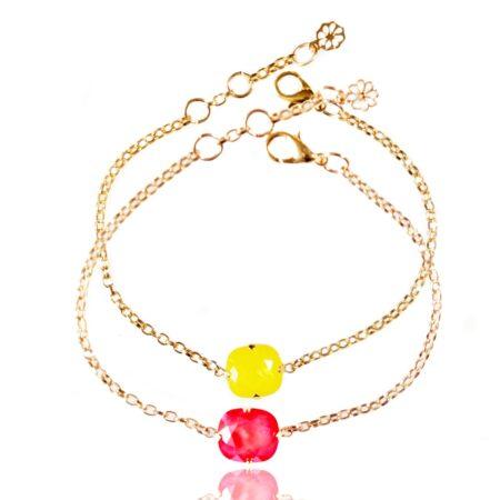 Stacking Duo Bracelet - Lemon & Raspberry