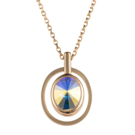 Ellipse Pendant - Gold with Crystal AB