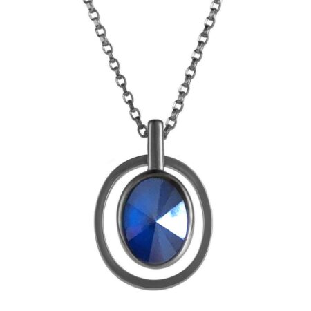 Ellipse Pendant - Gunmetal with Blue