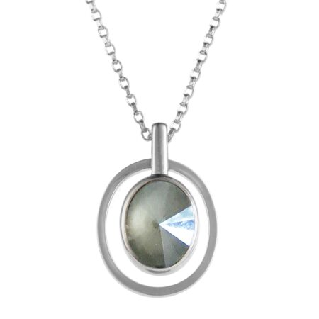 Ellipse Pendant - Silver with Grey