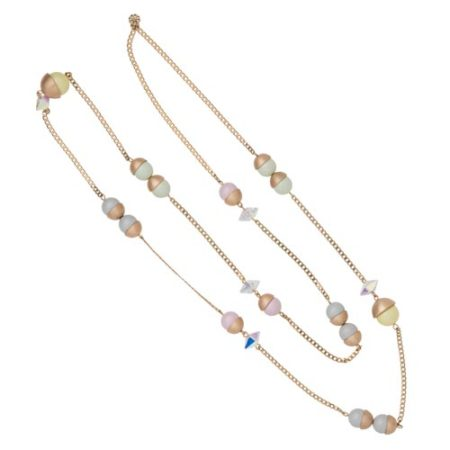 Endless Multi Pearl & Crystal Spike Necklace - Mixed Pastels with Gold A