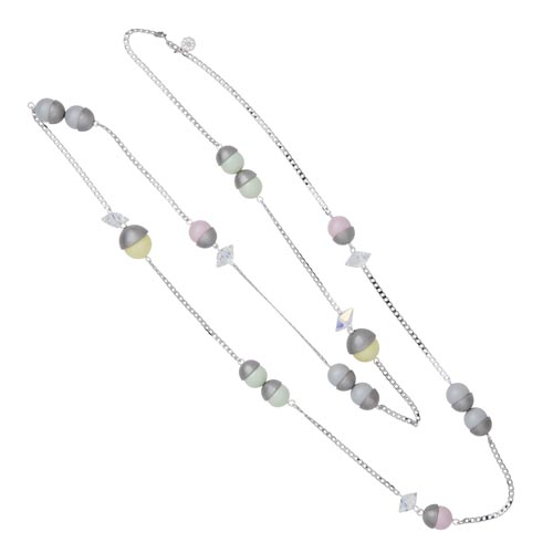 Endless Multi Pearl & Crystal Spike Necklace - Mixed Pastels with Silver A
