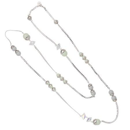 Endless Pearl & Crystal Spike Necklace - Mint Green & Dove A