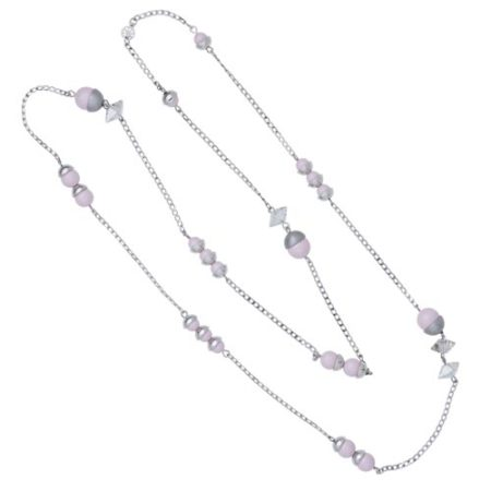 Endless Pearl & Crystal Spike Necklace - Soft Pink A