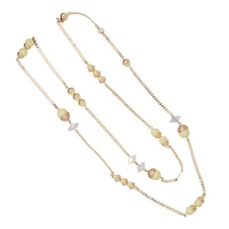 Endless Pearl & Crystal Spike Necklace - Yellow Sherbet A