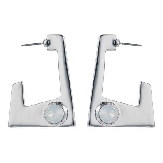 Geo Earrings - Silver White Opal - 001