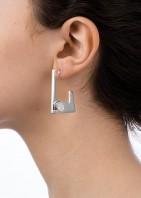 Geo Earrings - Silver White Opal - 002