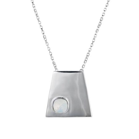 Geo Pendant Silver White Opal - 001