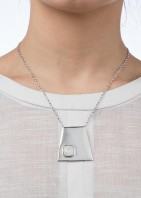 Geo Pendant Silver White Opal - 002