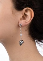 Glass Skull & Spike Earrings - Chrome - 002