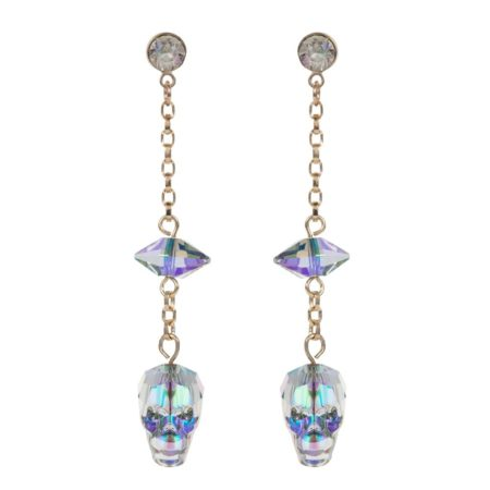 Glass Skull & Spike Earrings Crystal Paradise A